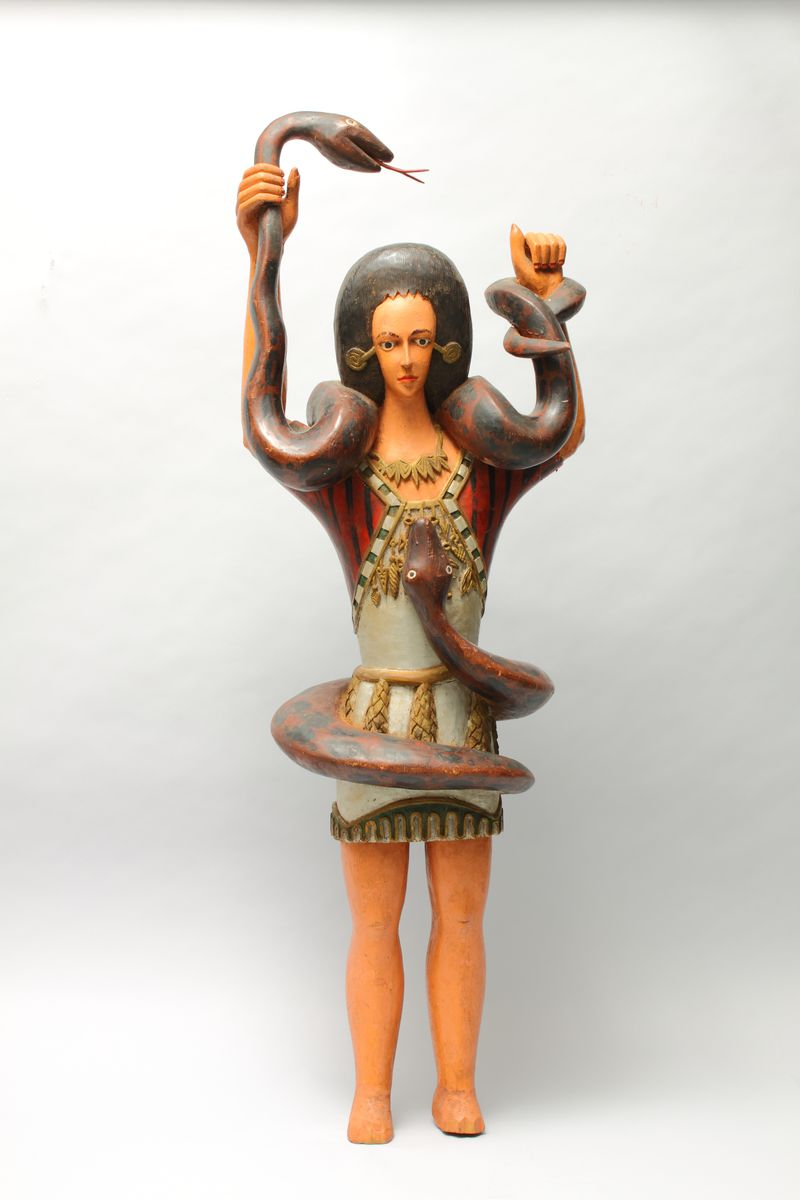 """Carved by a Nigerian artist who was likely of the Igbo people, this sculpture represents the powerful water spirit  Mami Wata. Carved of wood in the 1950s, the piece represents a deity that appears throughout the African diaspora and was an inspiration for Beyonce's film,  """"Lemonade."""" Courtesy of the High Museum of Art"""