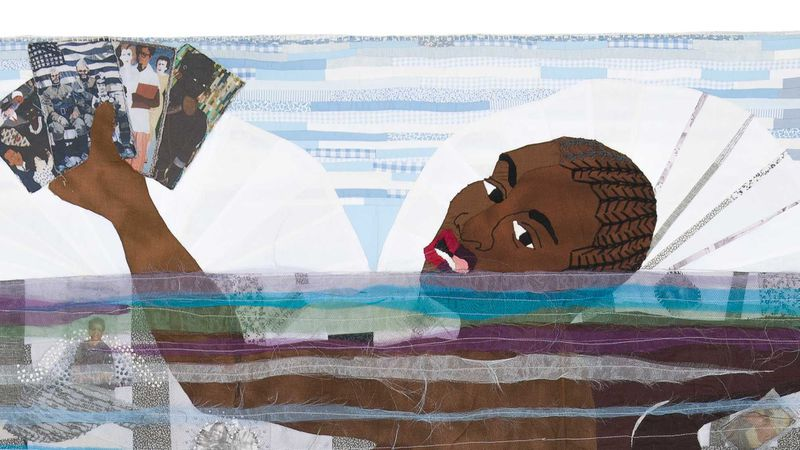 """This is a detailed photo of the fabric painting by Atlanta artist Dawn Williams Boyd, """"Sankofa."""" The piece was recently acquired by the Metropolitan Museum of Art in New York."""