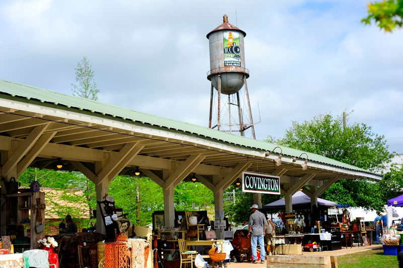 The Tammany Trace trailhead in Covington is marked by an old-style train station that hosts a farmers' market and live music performances.  Courtesy of Bobby Gilboy
