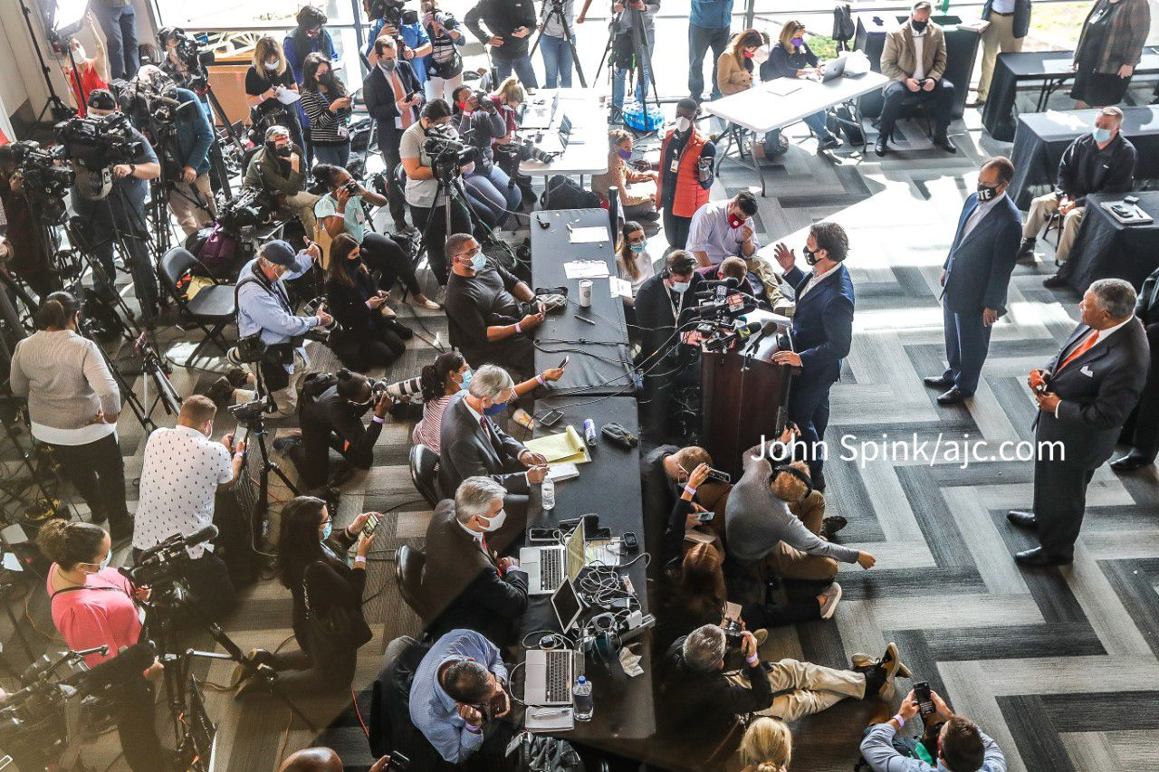 11/5/20 - Atlanta, GA -  Fulton County elections director Rick Barron holds a briefing at State Farm Arena where absentee ballot processing is nearing completion.  John Spink / john.spink@ajc.com