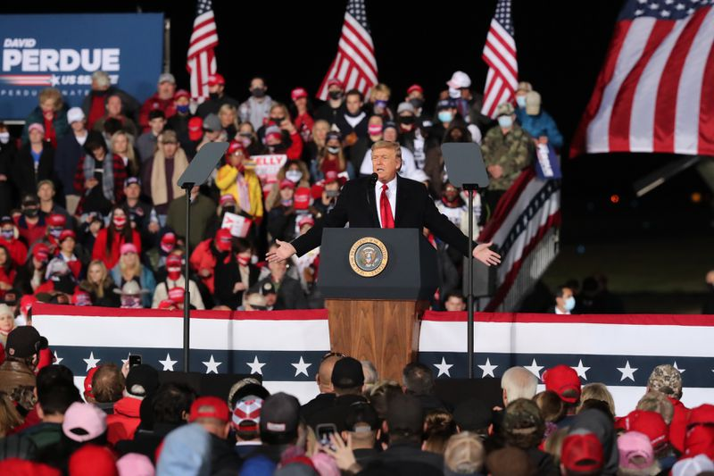 1/4/21 - Dalton, GA - President Donald Trump holds a rally in Dalton, GA, to campaign for Senators David Perdue and Kelly Loeffler on the eve of the special election which will determine control of the U.S. Senate.   (Curtis Compton / Curtis.Compton@ajc.com)