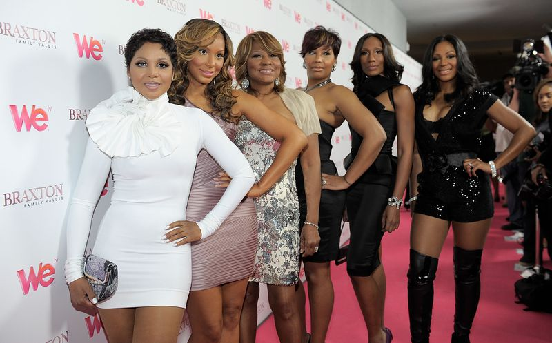 "From left, singer Toni Braxton, Tamar Braxton, Evelyn Braxton, Traci Braxton, Towanda Braxton and Trina Braxton arrive at the celebration for the new WE tv series ""Braxton Family Values"" at The London Hotel in West Hollywood, California. Tamar reportedly attempted suicide Thursday night. (Photo by Charley Gallay/For WE tv)"