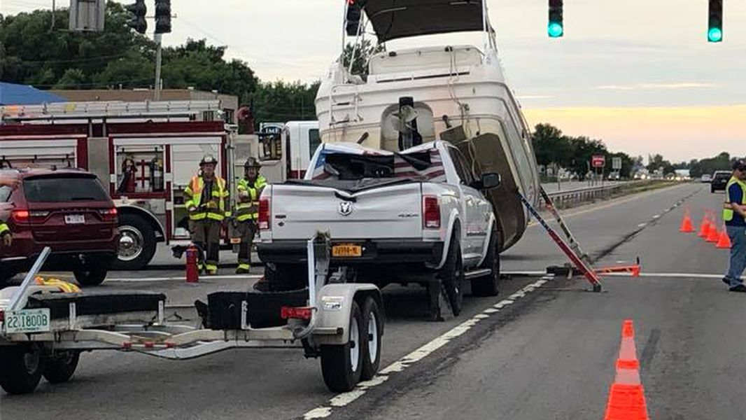 Boat Breaks Free Crashes Onto Truck Towing It Officials Say