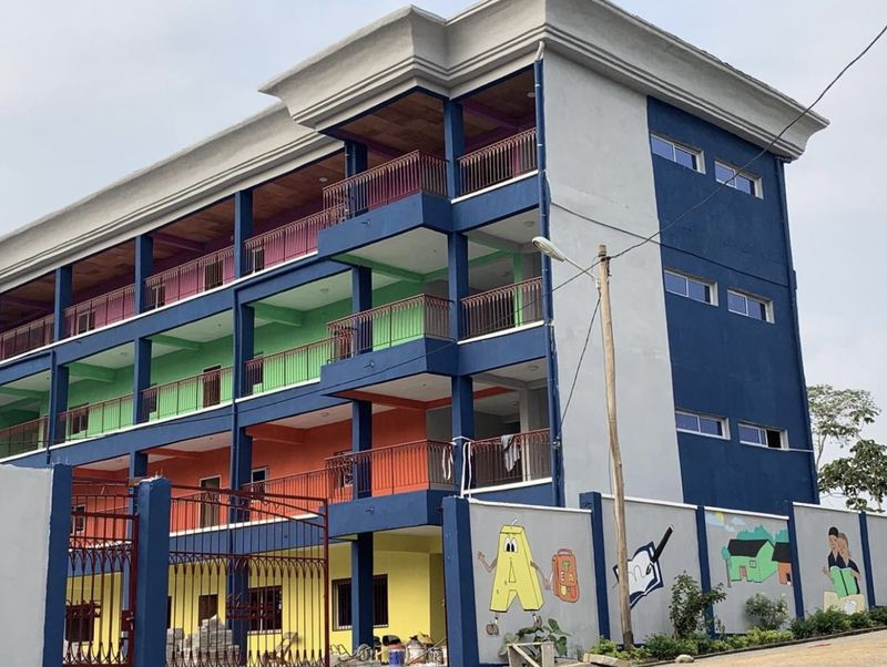 The Hale Academy opened in Mfou, Cameroon, in August this year. Hundreds of young children now learn in its 27 classrooms. (Courtesy of Nadine Kezebou)