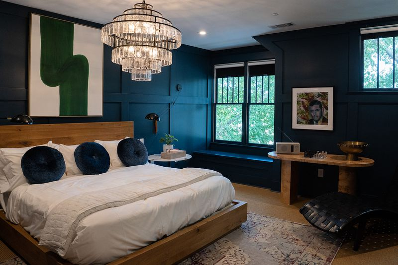 Suites at The Rushmore, a new luxury boutique B&B in Athens' Five Points neighborhood, are themed with curated art and bespoke furnishings. Courtesy of Kaitie Bryant Photography