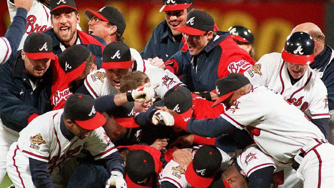 Braves players celebrate winning the 1995 World Series.