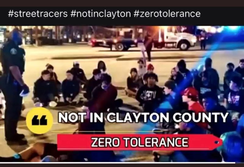 Clayton County Sheriff Victor Hill is popular with the voters for his tough-on-crime approach. This photo appeared on his social media site after a street racing roundup.