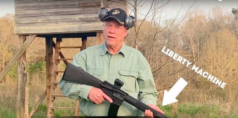 """Former congressman Paul Broun and an AR-15, a tool to keep at bay the """"looting hordes from Atlanta."""" (From the Broun campaign video)"""
