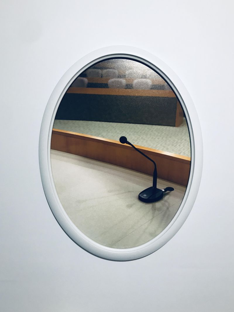 """University of Arkansas School of Law (Microphone)"" (2019) digital print by Courtney McClellan from her solo exhibition ""Simulations"" at the Museum of Contemporary Art of Georgia. Courtesy of Museum of Contemporary Art of Georgia"