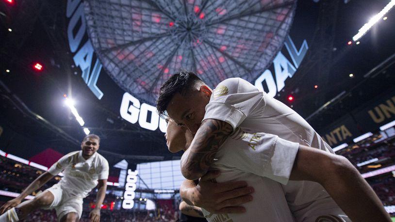Atlanta United forward Luiz Araujo (19) celebrates with teammates after scoring his first goal Wednesday, Sept. 15, 2021,  against Cincinnati at Mercedes-Benz Stadium in Atlanta. (Dakota Williams/Atlanta United)