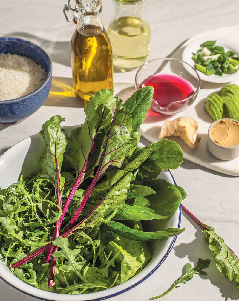 """""""Eat Cool: Good Food for Hot Days"""" author Vanessa Seder was looking to use up leftover greens when she came up with Farmers Market Greens and Rice Soup With Ginger and Miso. (Courtesy of Rizzoli USA)"""