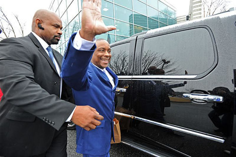 Victor Hill several years ago, as he walked out of jail. A limousine driver in a Cadillac Escalade picked him up. (Credit: HYOSUB SHIN / AJC file photo)
