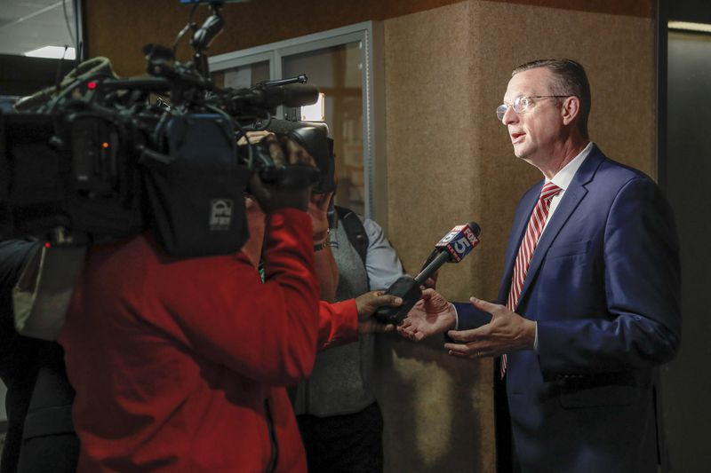 March 2, 2020 - Atlanta - Congressman Doug Collins, R-Ga., talks with the media after he signed in at the Secretary of States office to qualify  for the special election to fill Sen. Johnny Isakson's former seat. A large turnout by both Democrats and Republicans on the first day of election qualifying resulted in long lines of politicians waiting to sign in.   Bob Andres / robert.andres@ajc.com