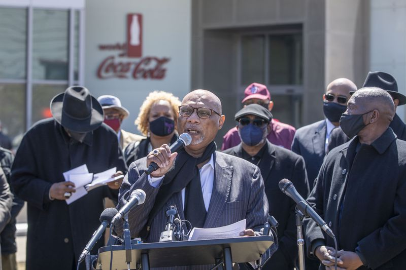 In April, AME Bishop Reginald T. Jackson stood outside the World of Coca-Cola in downtown Atlanta and called for boycotts in order to force corporations to take a stronger stance against Georgia's new voting law. (Alyssa Pointer / Alyssa.Pointer@ajc.com)