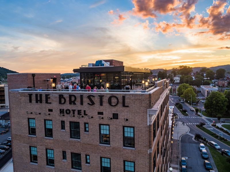 The Bristol Hotel opened in 2019 in a renovated 1925 landmark office building in the twin cities of Bristol, Virginia and Tennessee. The hotel is on the Virginia side of the state line.  Courtesy of The Bristol Hotel, a Charlestowne Hotels managed property