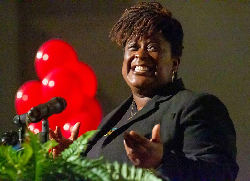 APS Superintendent Dr. Lisa Herring speaks during  Teacher Appreciation Week at Mays High School in Atlanta Friday, May 7, 2021. STEVE SCHAEFER FOR THE ATLANTA JOURNAL-CONSTITUTION