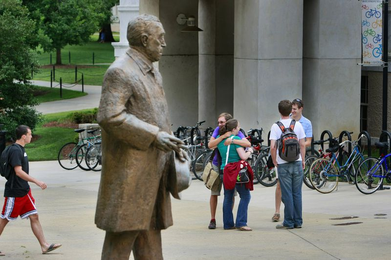 Emory University students outside the Robert W. Woodruff Library. (AJC file photo)