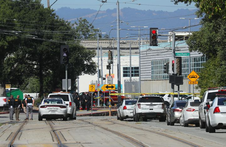 Police at the scene of a shooting at a rail yard in San Jose, Calif., on Wednesday, May 26, 2021. Eight people were killed and others were injured, the Santa Clara County Sheriff's Office said. The gunman was also dead, the authorities said. (Jim Wilson/The New York Times)