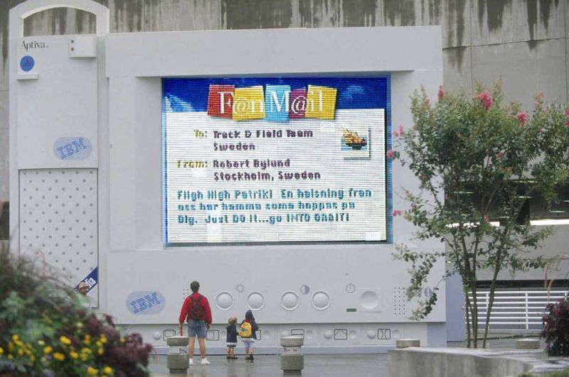 """Among IBM's innovations during the 1996 Summer Games was the """"FanMail"""" messaging system, which allowed people to send congratulatory messages to the athletes — and, if they were lucky, receive a response. This large FanMail display was displayed outside the Georgia Dome. (Business Wire / 1996 file)"""