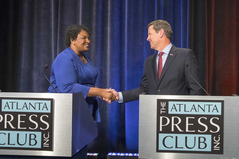 Democrat Stacey Abrams is expected to launch another bid for the state's highest office, but Gov. Brian Kemp has to also worry about a challenge from within his own party after drawing the scorn of former President Donald Trump. (ALYSSA POINTER/ALYSSA.POINTER@AJC.COM)