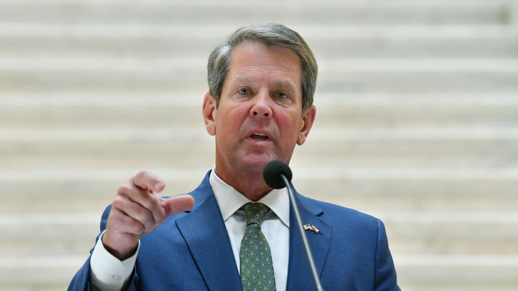August 19, 2020 Atlanta - Governor Brian Kemp speaks during a press conference to provide update on efforts to combat human trafficking in Georgia at the Georgia State Capitol building on Wednesday, August 19, 2020. (Hyosub Shin / Hyosub.Shin@ajc.com)