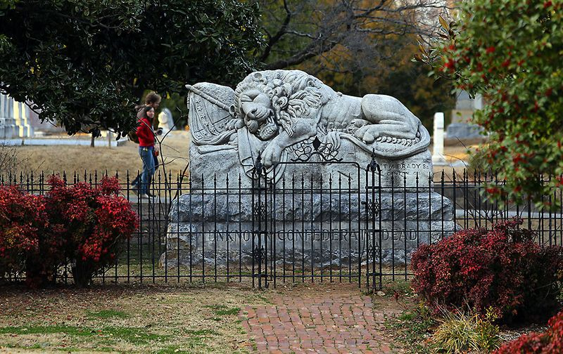The monument is based on Switzerland's Lion of Lucerne. (CURTIS COMPTON / ccompton@ajc.com)