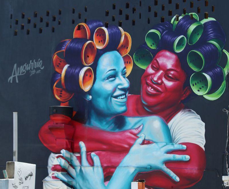 Street mural by Dominican artist Angurria in the Santurce neighborhood of San Juan, Puerto Rico. (Suzanne Van Atten for The Atlanta Journal-Constitution)