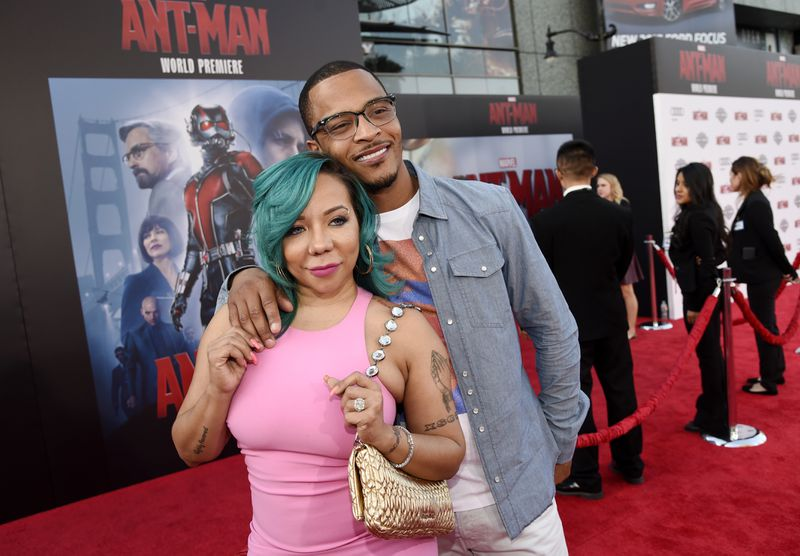 """Hip hop recording artist """"T.I."""" Harris and his wife Tiny are under police investigation in Los Angeles. (Photo by Chris Pizzello/Invision/AP)"""