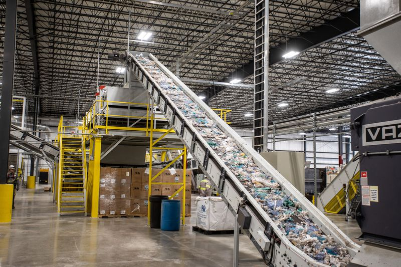 Plastic items are conveyed to Brightmark machinery that shreds them into thumb-sized pellets, which will be vaporized with high heat then distilled into an oil that can be used to make diesel fuel, naptha and waxes. Brightmark plans to build a massive plastic processing facility outside of Macon.