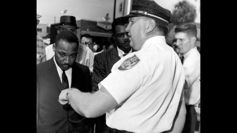 B/W COPY PHOTO: Martin Luther King Jr.'s visit to Albany, Georgia, in the early 1960s brought him into frequent contact with Police Chief Laurie Pritchett. King (left) is shown in this undated photo with Pritchett (right) and William Anderson (middle), a leader in the Albany civil rights movement. (AP FILE PHOTO).